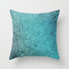 Detailed zentangle square, blue colorway Throw Pillow