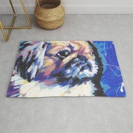 Fun Pekingese Dog Portrait bright colorful Pop Art Rug