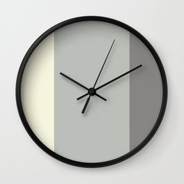 Benjamin Moore 2019 COY Metropolitan, Lemon Chiffon, and Cinder Dark Gray Bold Vertical Stripes Wall Clock