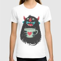 cup T-shirts featuring Demon with a cup of coffee by Lime