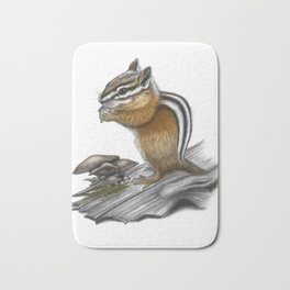 Chipmunk and mushrooms Bath Mat