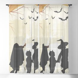 Halloween Trick Or Treat Full Moon Costumes Bats Pumpkin Heads And Castle Ultra HD Sheer Curtain