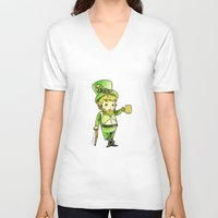 niall V-neck T-shirts featuring Leprechaun Niall by Drawpassionn