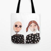 tiki Tote Bags featuring Tiki by Alejandra Hernandez