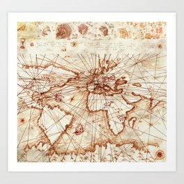 Vintage route map of the world - Leonardo Da Vinci Art Print