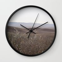 plain Wall Clocks featuring carrizo plain by maedel