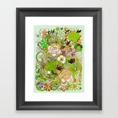 Detailed summer floral pattern, green Framed Art Print
