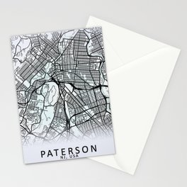 Paterson, NJ, USA, White, City, Map Stationery Cards