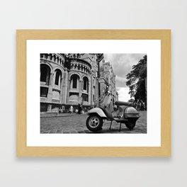 Moped outside the Sacre Coeur, Paris Framed Art Print