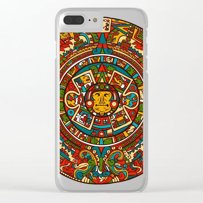 Aztec Mythology Calendar Clear iPhone Case