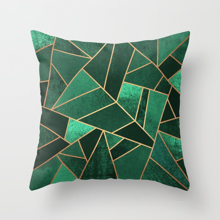 Emerald And Copper Throw Pillow By Elisabethfredriksson