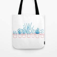Teal Plants in Red Pots Tote Bag