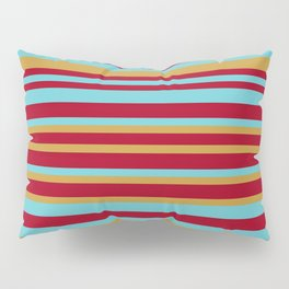 Golden, Red Wine and Turquoise Vintage Stripes Pillow Sham