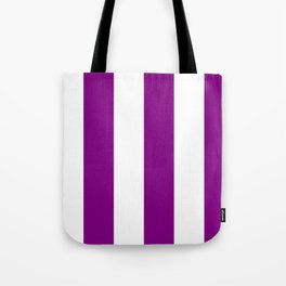 Wide Vertical Stripes - White and Purple Violet Tote Bag