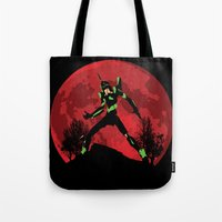 evangelion Tote Bags featuring Neon Genesis Evangelion Unit 01 - Hill Top by kamonkey