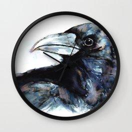 Raven, Watercolor Wall Clock