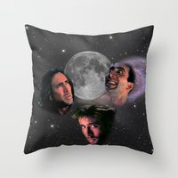 nicolas cage Throw Pillows featuring 3 Cage Moon by Jared Cady