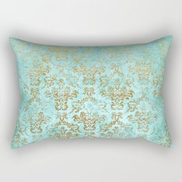 Mermaid Gold Aqua Seafoam Damask Rectangular Pillow