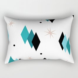 Mid Century Modern Teal Diamonds Rectangular Pillow