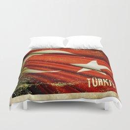 Grunge sticker of Turkey flag Duvet Cover