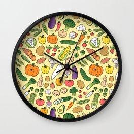 Veggie Friends Doodle Wall Clock