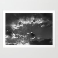 Plane and storm Art Print