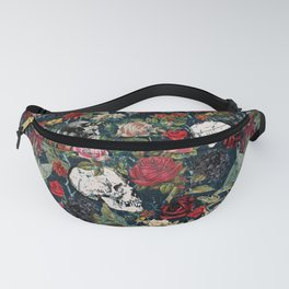 Distressed Floral with Skulls Pattern Fanny Pack