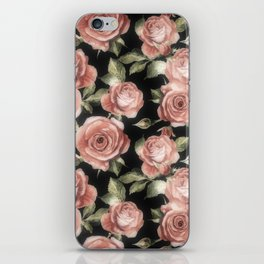 Classic Pink Roses On Black iPhone Skin