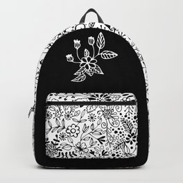 Black on White Florals Backpack