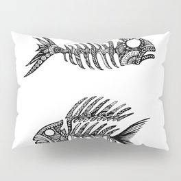 Original Artwork Fish Bone print, Abstract Ink Painting, Summer Home Decor, Seasonal Art Gift Pillow Sham