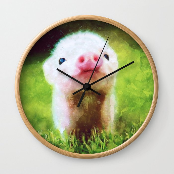 CUTE LITTLE BABY PIG PIGLET Wall Clock