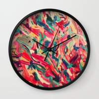 nail polish Wall Clocks featuring Nail Polish Painted by WayfarerPrints