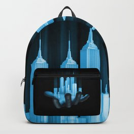 Virtualville / 3D render of miniature holographic city in human hand Backpack