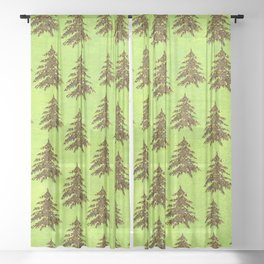 Sparkly Gold Christmas tree on abstract green paper Sheer Curtain