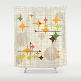 Mid Century Modern Starbursts and Globes 3a Shower Curtain