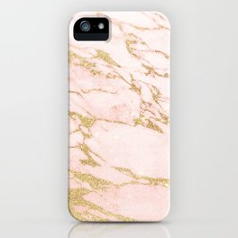Blush pink abstract gold glitter marble iPhone Case