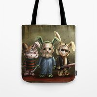 michael myers Tote Bags featuring Horror Bunnies - Parody of Jason, Freddy and Michael Myers by diana levin art