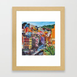 Cinque Terre, Italy - hillside with colourful houses and harbour  Framed Art Print