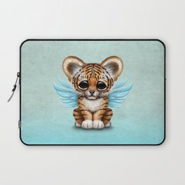 Cute Baby Tiger Cub with Fairy Wings on Blue Laptop Sleeve