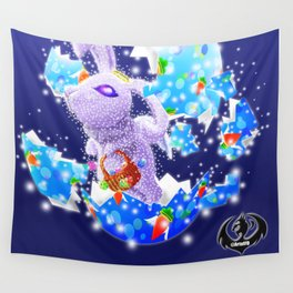 'You Cracked the Egg' Series - Easter Angelic Bunny with Premium Background Wall Tapestry