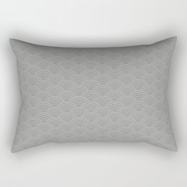Japanese Wave Seigaiha Super Moon Grey Pattern Rectangular Pillow