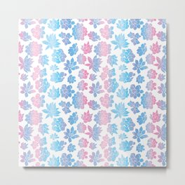 Blue and Pink Pastel Succulent Pattern Metal Print