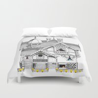 pac man Duvet Covers featuring Pac-Man House by Ryan Huddle House of H
