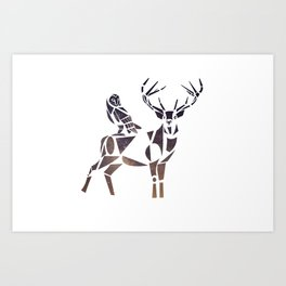 deer & owl Art Print