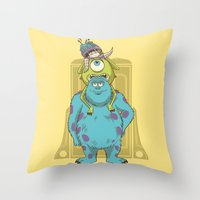 monster inc Throw Pillows featuring Monster Inc. by Fathi
