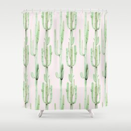 Green and Coral Pink Cactus Stack Pattern Shower Curtain