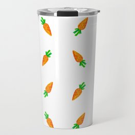 Hand painted green orange watercolor carrots pattern Travel Mug