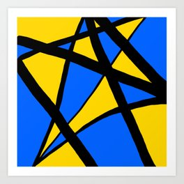 Yellow and Blue Triangles Abstract Art Print