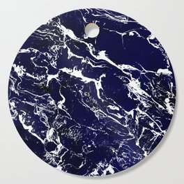 Modern Navy blue watercolor marble pattern Cutting Board