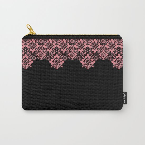 Retro .Vintage . Pink lace on a black background . Carry-All Pouch